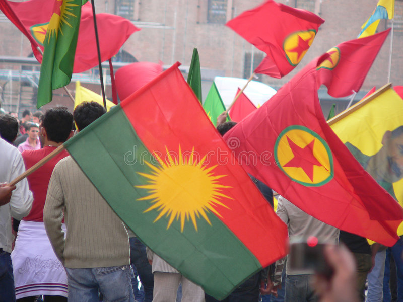 Kurds protest, Bologna stock photo