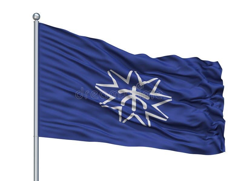 Kure City Flag On Flagpole, Japan, Hiroshima Prefecture, Isolated On White Background. Kure City Flag On Flagpole, Country Japan, Hiroshima Prefecture, Isolated stock illustration