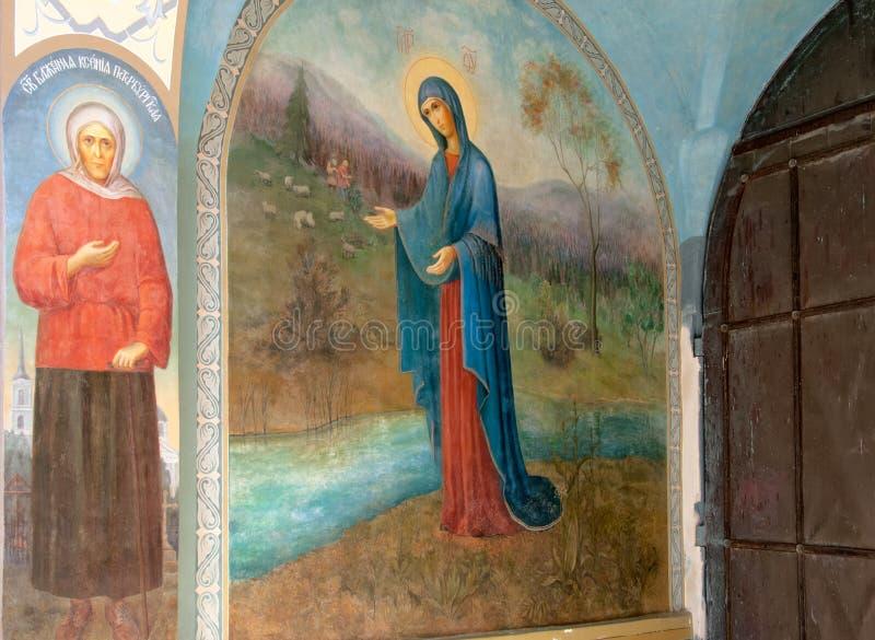 Kuremae Estonia Iconos del convento de Puhtitsa Dormition foto de archivo