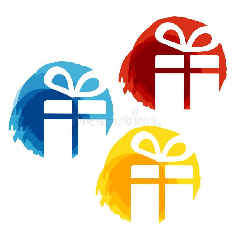 Kurend etykietki z białymi symbolami Bożenarodzeniowy prezent na białym tle, majchery dla Bożenarodzeniowej sprzedaży błękitny cz ilustracji