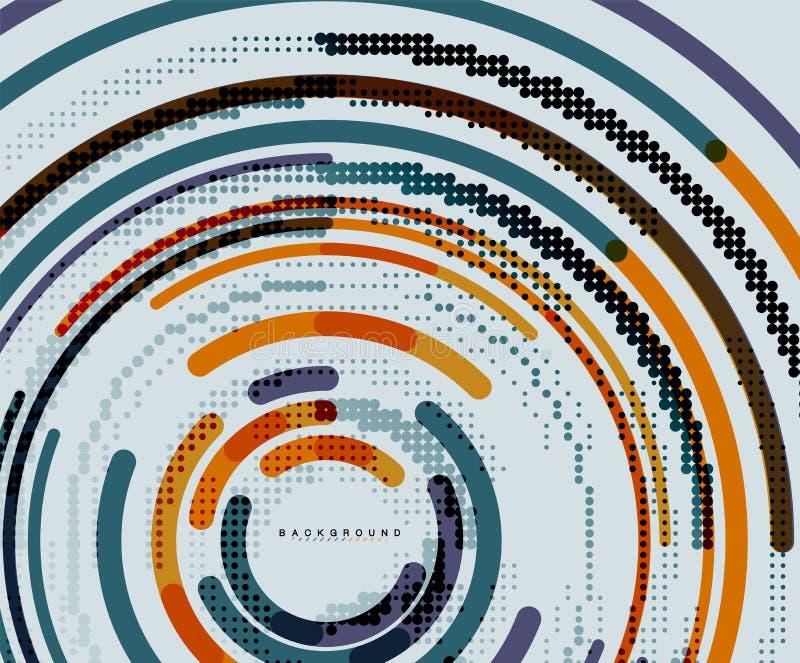 Kurend linie, okręgi, geometryczny abstrakcjonistyczny tło ilustracji