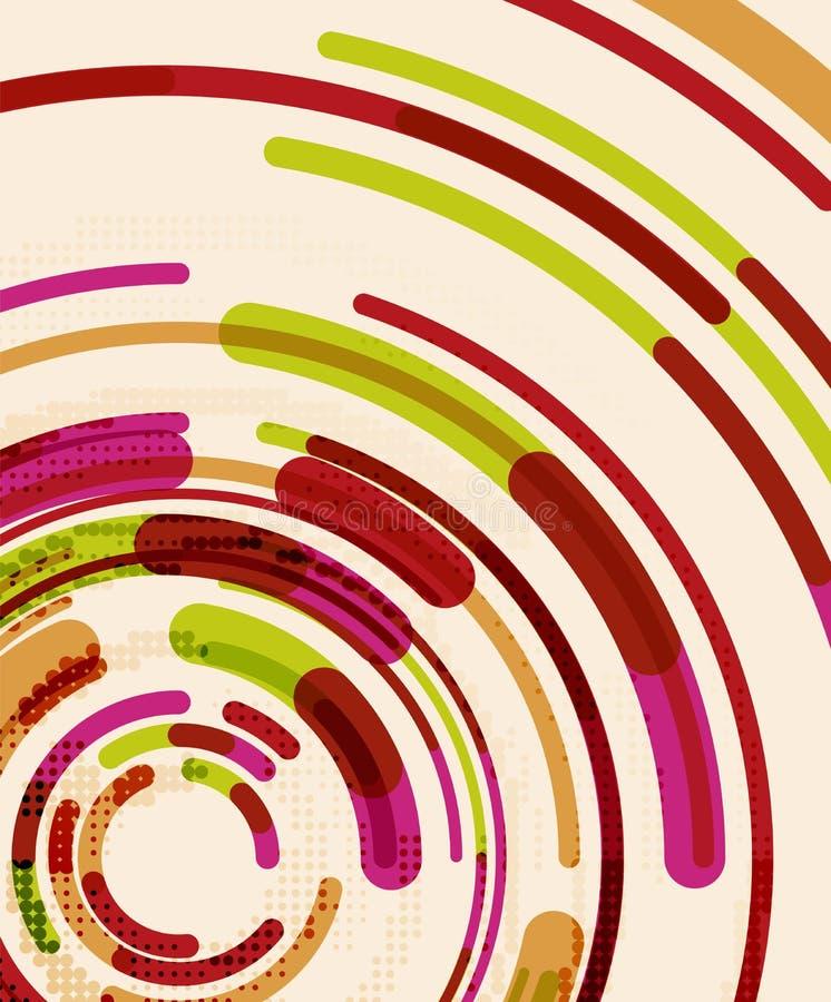 Kurend linie, okręgi, geometryczny abstrakcjonistyczny tło royalty ilustracja
