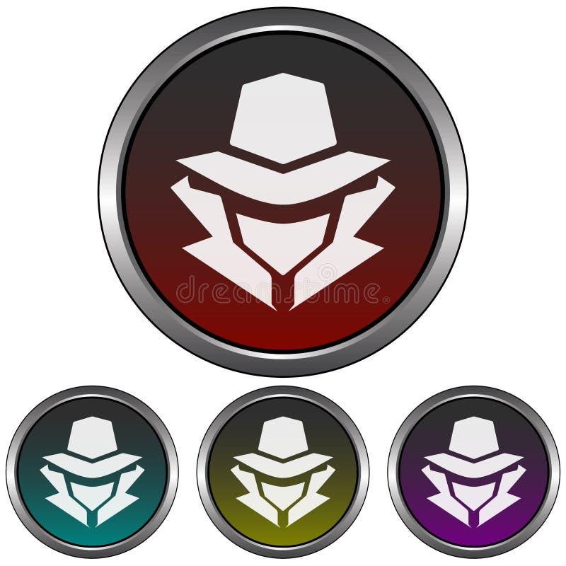 Kurenda kruszcowy tajemniczy mężczyzna, hacker w kapeluszowej sylwetki ikonie,/ Cztery kolor różnicy royalty ilustracja