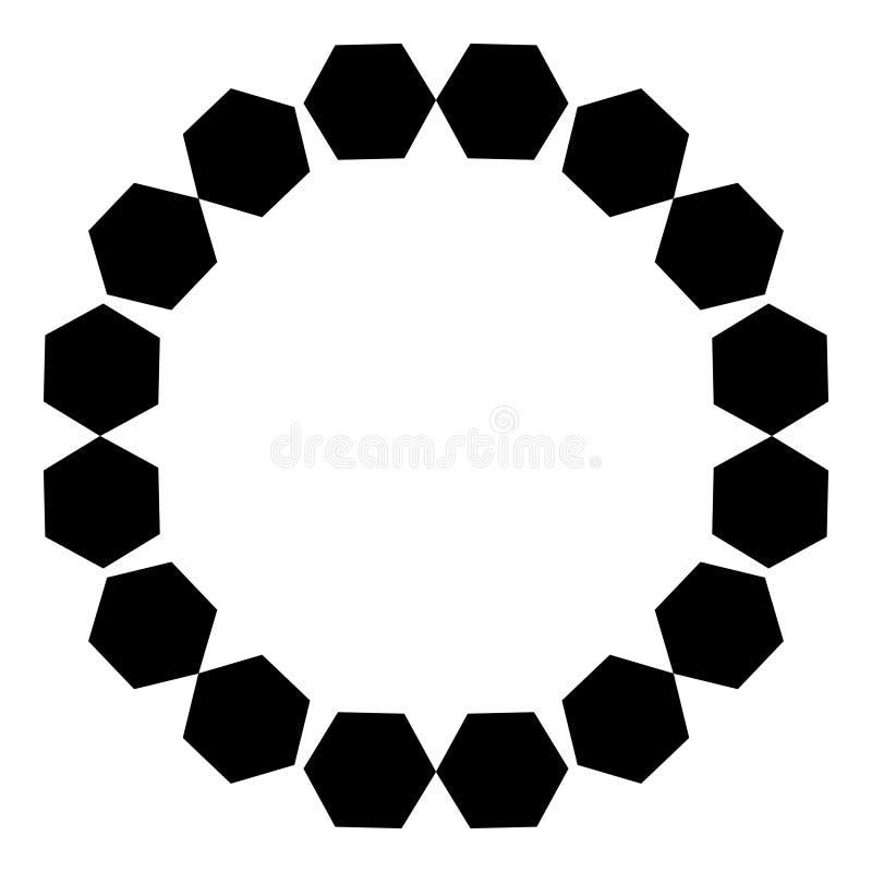 Kurenda wzór czarni sześciokąty na białym tle również zwrócić corel ilustracji wektora royalty ilustracja