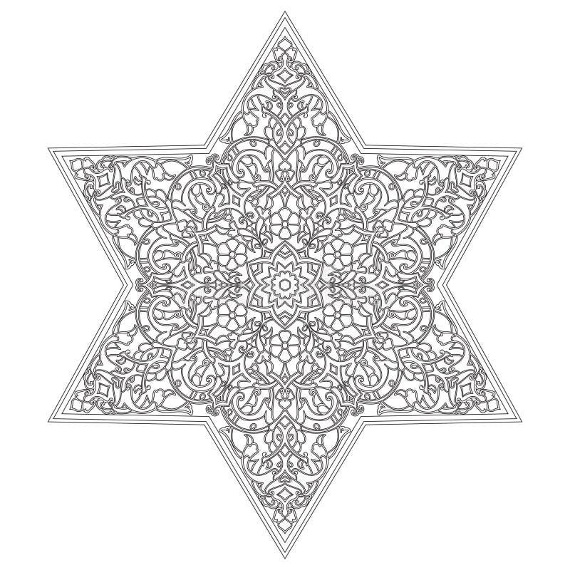 Kurenda wzór Islamski etniczny ornament dla garncarstwa, płytki, tkaniny, tatuaże royalty ilustracja