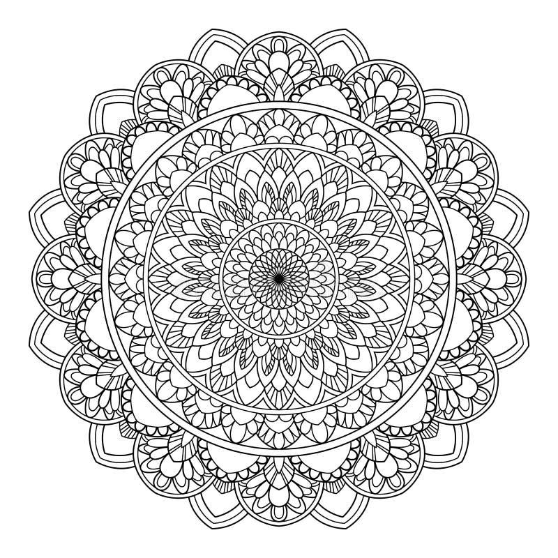 Kurenda wzór w formie mandala dla henny, Mehndi, tatuaż, dekoracja Dekoracyjny ornament w etnicznym orientalnym stylu ilustracji