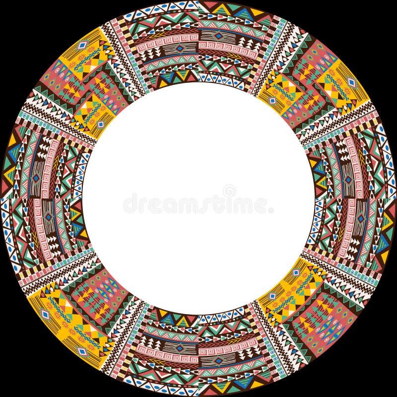 Kurendy rama z afrykańskimi etnicznymi motywami ilustracja wektor