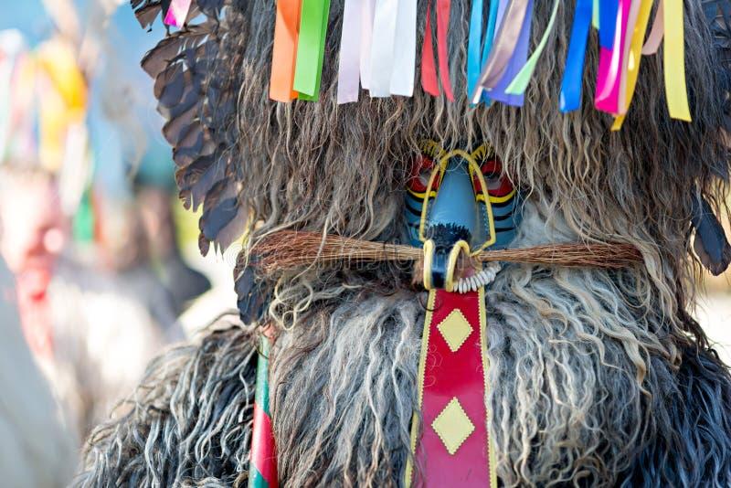 Kurent的五颜六色的面孔,斯洛文尼亚传统面具 库存图片