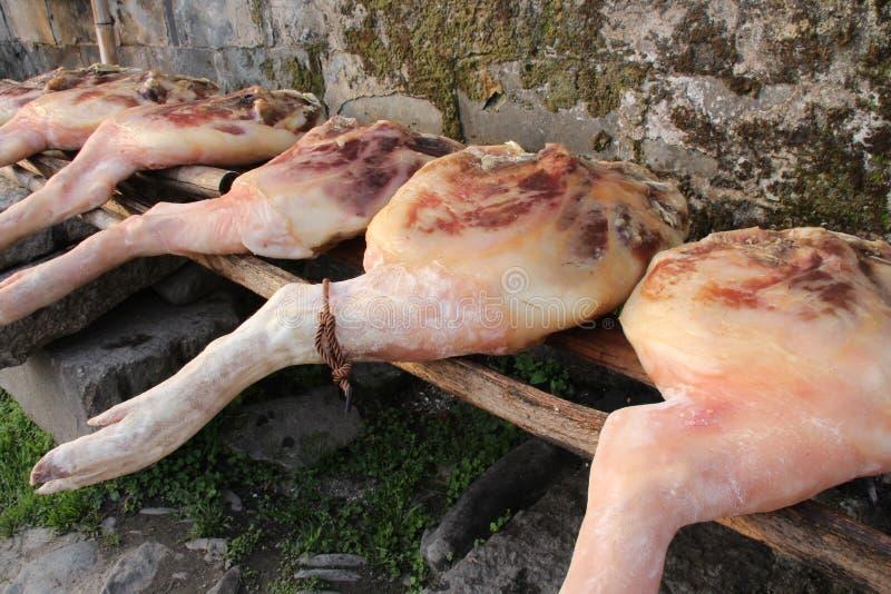 Kurerat kött i Kina fotografering för bildbyråer