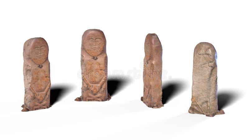 Kurgan Stelae W cztery pozycjach zdjęcia stock
