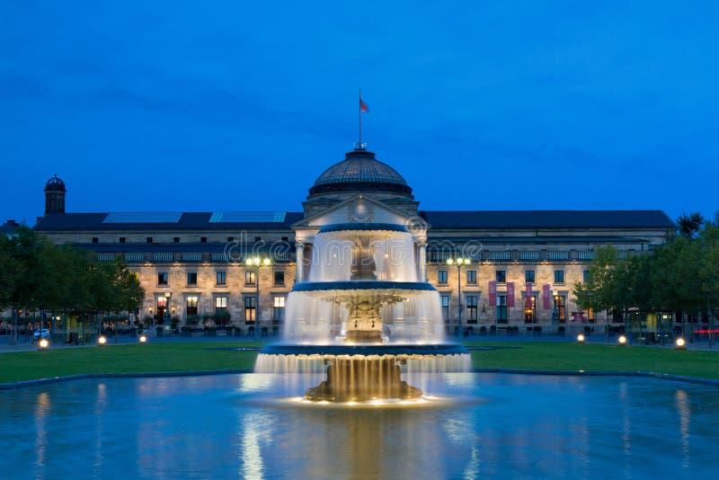 Kurhaus Wiesbaden at night royalty free stock photos