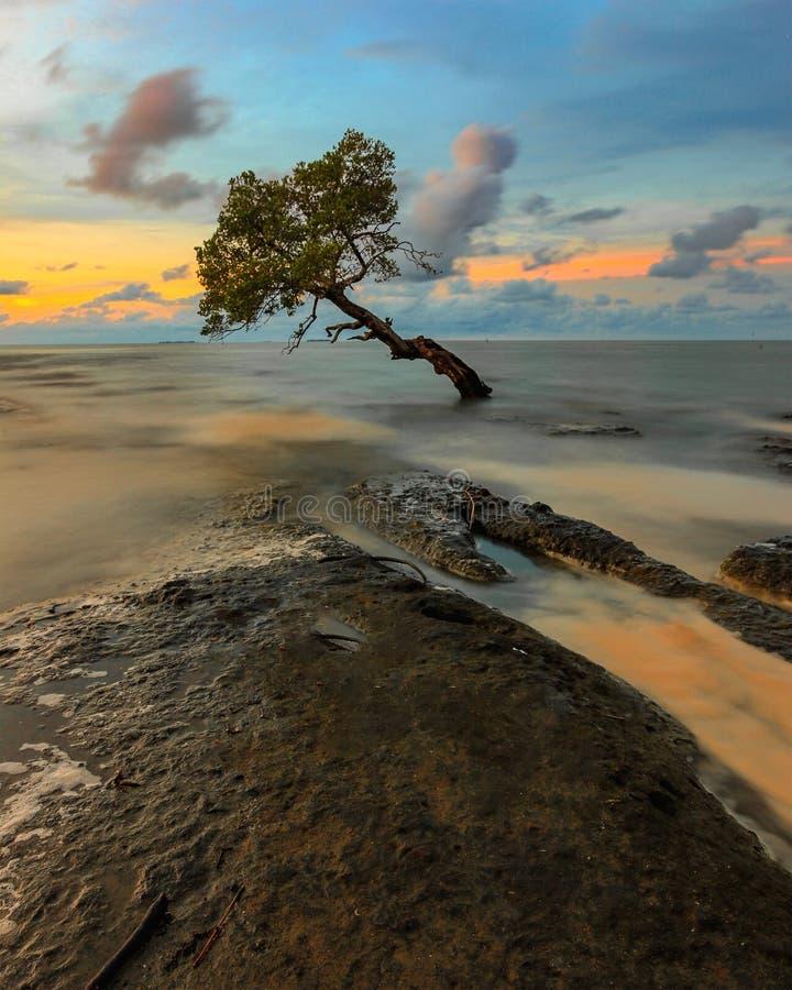 Sunset at Pantai Kuri Caddi stock image