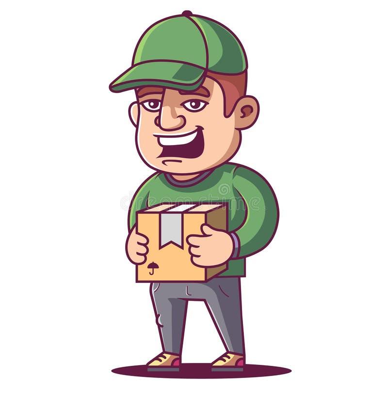 Kurierów chwyty i uśmiechy ilustracja wektor
