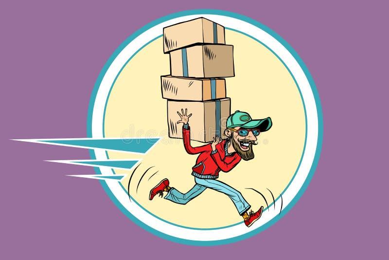Kurier biega dostawę ilustracji