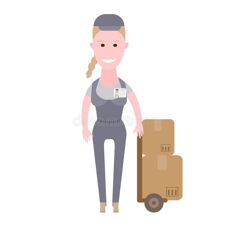 Kurier dziewczyny pakuneczka dostawa royalty ilustracja