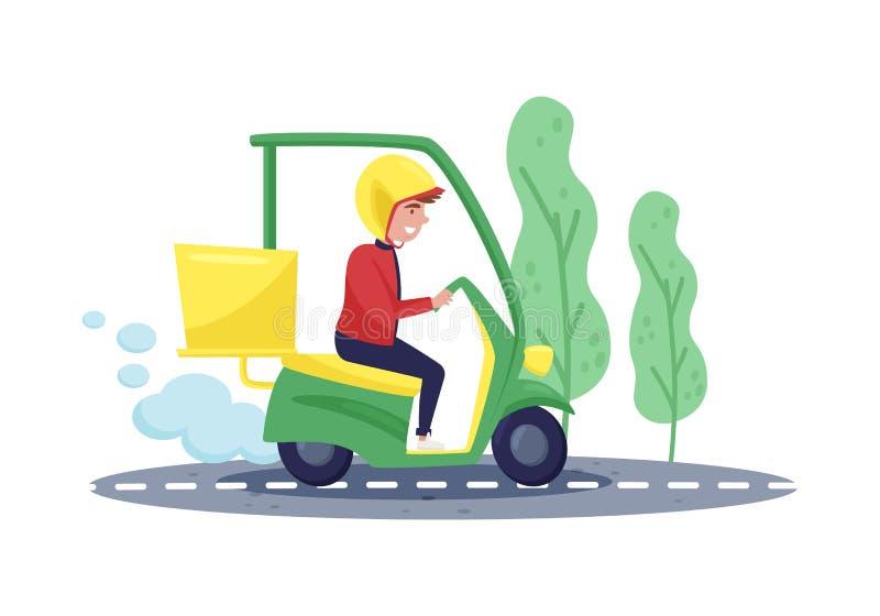 Kurier jazda na hulajnodze Ekspresowa dostawa Młody facet w ochronnym hełmie Płaski wektorowy projekt ilustracja wektor
