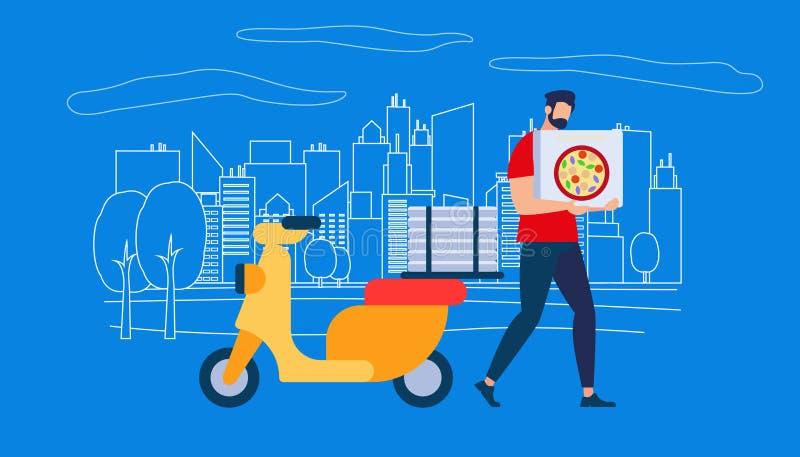 Kurier Man Character im roten Hemd Carry Pizza Box lizenzfreie abbildung