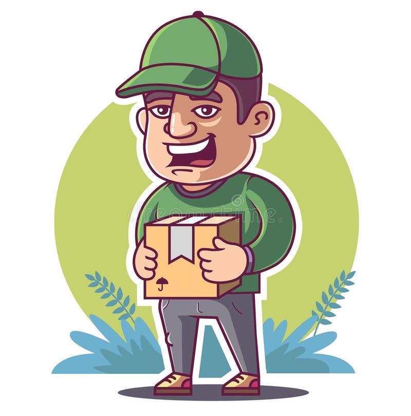 Kurier trzyma pakuneczek Zielony t?o royalty ilustracja