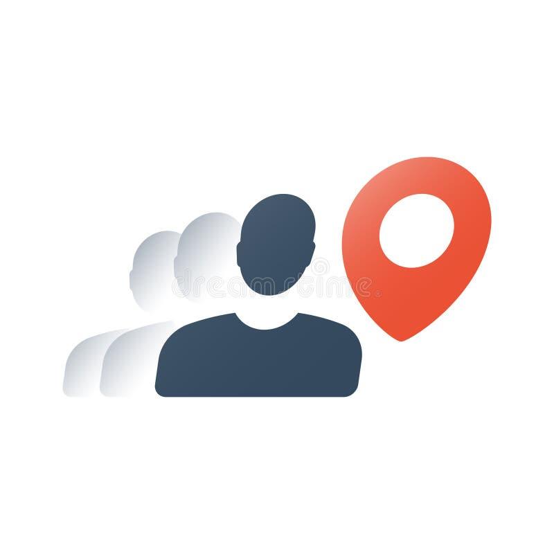 Kurier usługa, mapy lokacji czerwony pointer i osoba, szybki transport, podróży miejsce przeznaczenia, ruch umieszczać nawigację ilustracja wektor