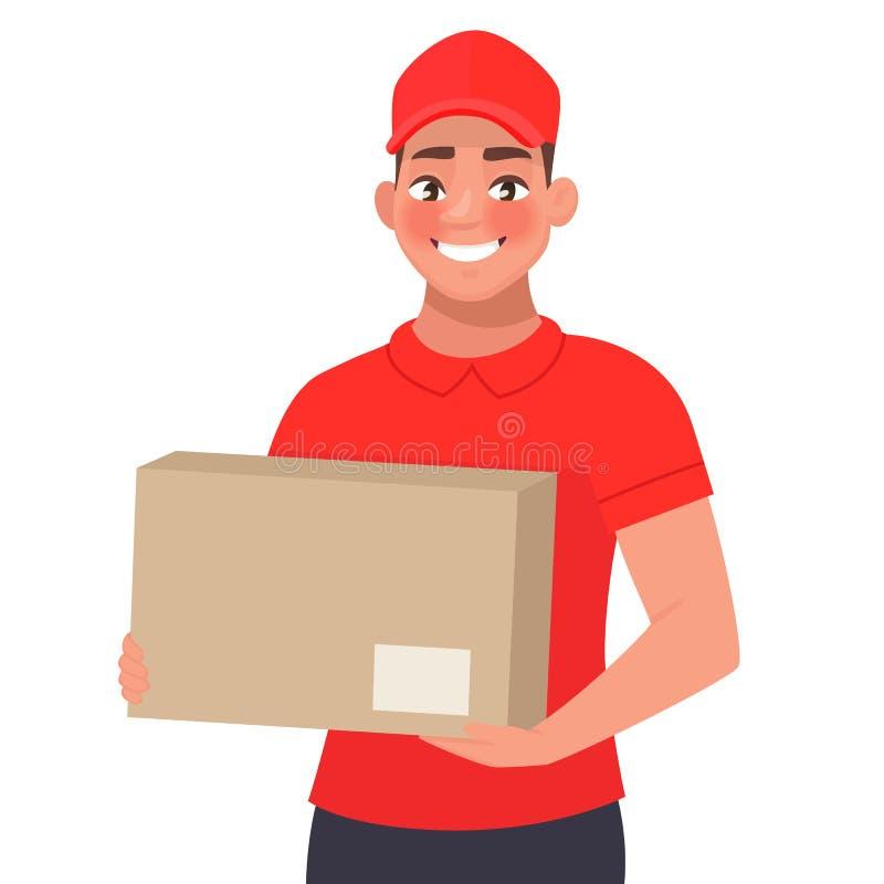 Kurier z pakuneczkiem Doręczeniowy mężczyzna w czerwień mundurze trzyma karton w jego rękach ilustracja wektor