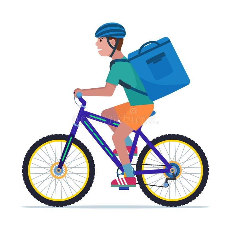 Kuriera mężczyzna niesie pudełko na bicyklu ilustracja wektor