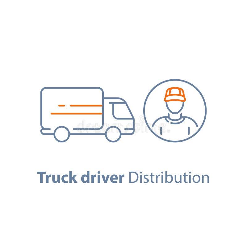 Kuriera mężczyzna, transportu pojazd, ruck kierowcy, doręczeniowa osoba, dystrybuci usługa, logistyki firma, wektorowa ikona ilustracji