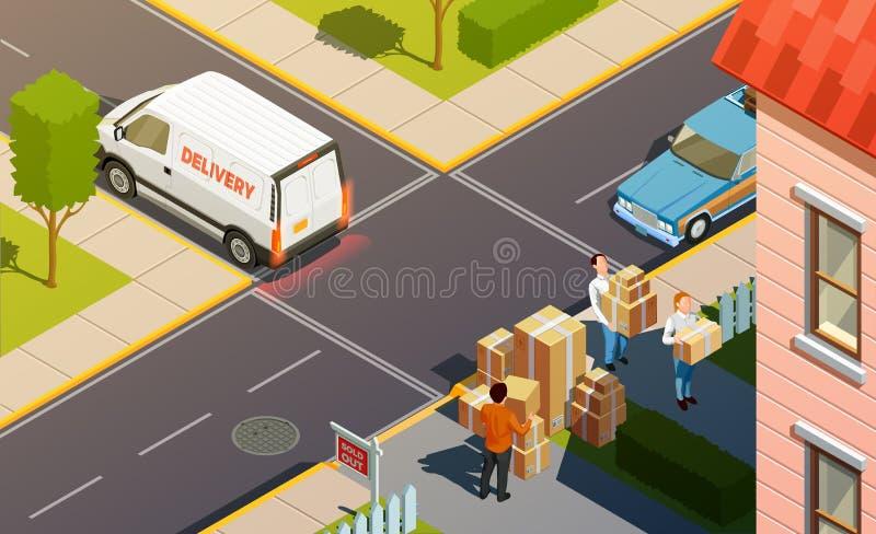 Kuriera serwisu dostawczego skład ilustracja wektor