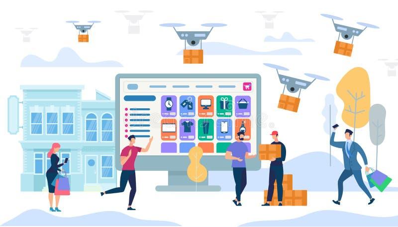 Kurierdienst in der Stadt Drohnen Carry Boxes lizenzfreie abbildung