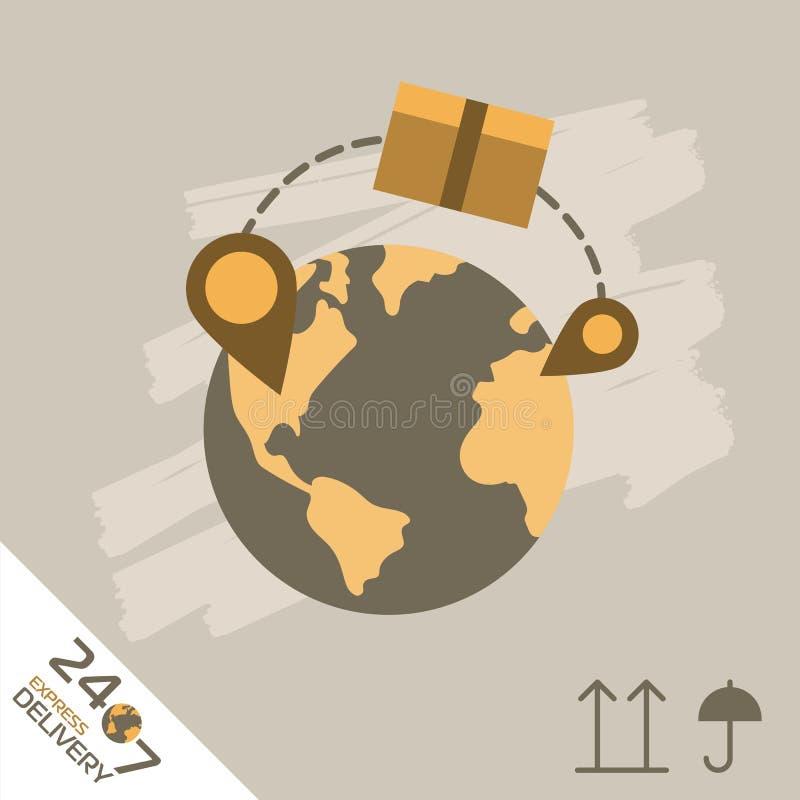 Kurierdienst-Symbole Weltweites Verschiffen lizenzfreie abbildung