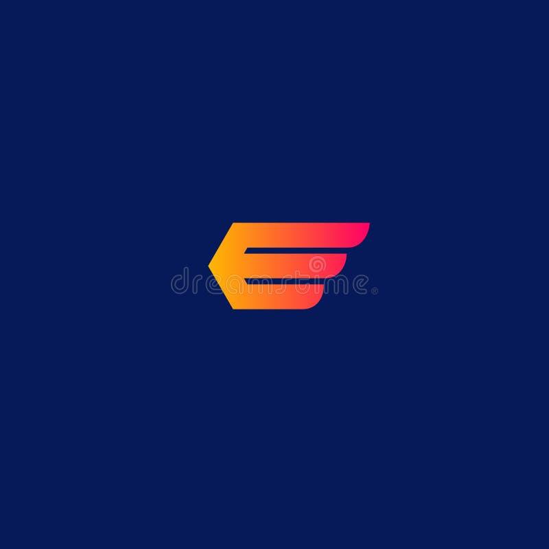 Kurierdienstlogo Der Buchstabe E als geflügelter Pfeil, der die Richtung zeigt vektor abbildung