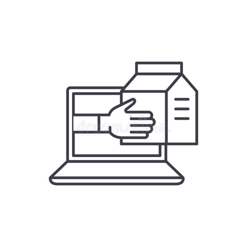Kurierdienstnebengleis-Ikonenkonzept Lineare Illustration des Kurierdienstservice-Vektors, Symbol, Zeichen lizenzfreie abbildung