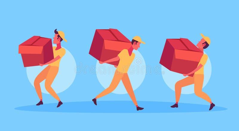 Kuriermänner, welche die Kastenlieferungspaket-Servicekonzeptbriefträger arbeiten Karikatur tragen des Papppaketes, zusammenhalte stock abbildung