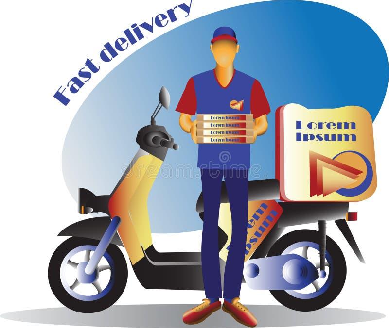 Kurir och sparkcykel leveransen fast sparkcykel stock illustrationer