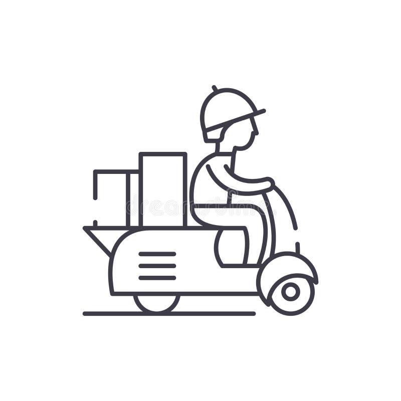 Kurir på en linje symbolsbegrepp för motorsparkcykel Kurir på illustration för vektor för motorsparkcykel en linjär, symbol, teck stock illustrationer