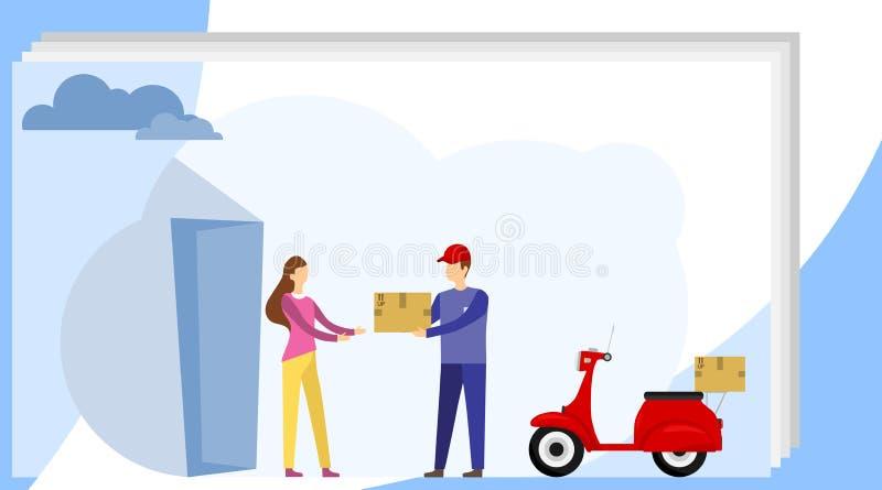 Kurir Transportation av tecknad filmpacken på rengöringsduk Hemsändningarbetare i likformign som levererar jordlotten till kvinna stock illustrationer