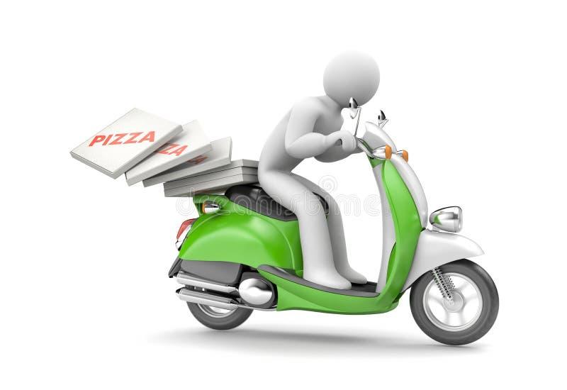 Kuriren levererar pizza på en sparkcykel stock illustrationer