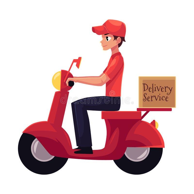 Kuriren sparkcykeln för hemsändningarbetarridningen, motorcykel laddade med askar royaltyfri illustrationer