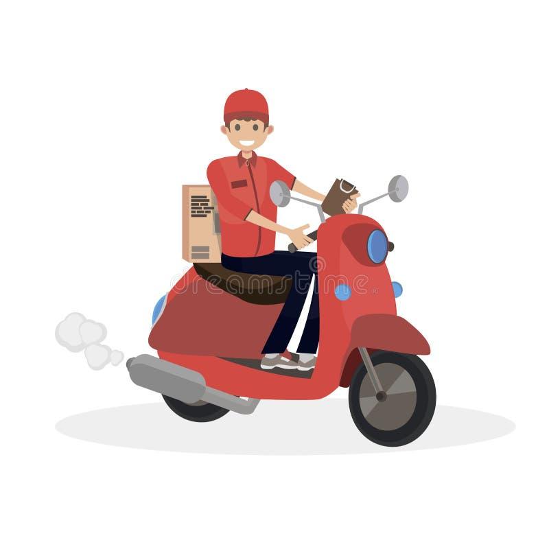 Kurirritter på en röd sparkcykel Folk för lägenhet för teckenvektorillustration vektor illustrationer