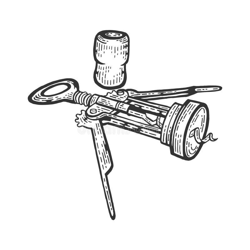 Kurketrekker en wijncork de vector van de schetsgravure vector illustratie