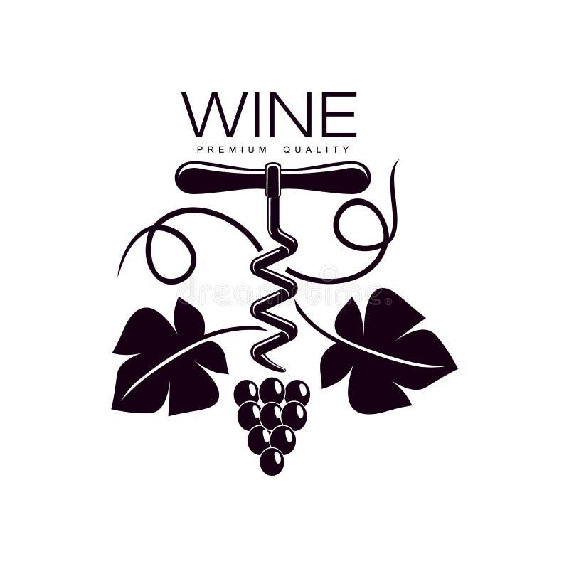 Kurketrekker met wijnstokpictogram dat wordt verfraaid royalty-vrije illustratie