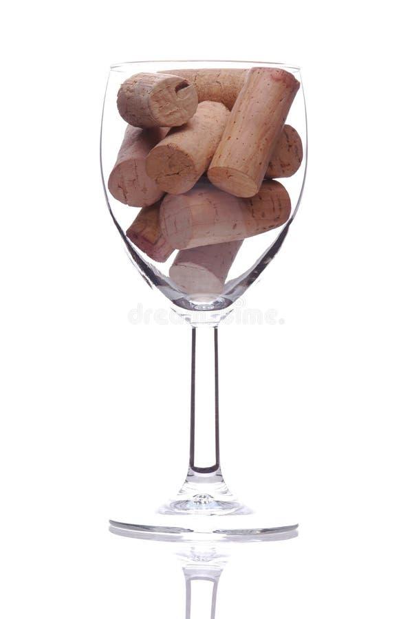 Kurkt in het Glas van de Wijn royalty-vrije stock foto
