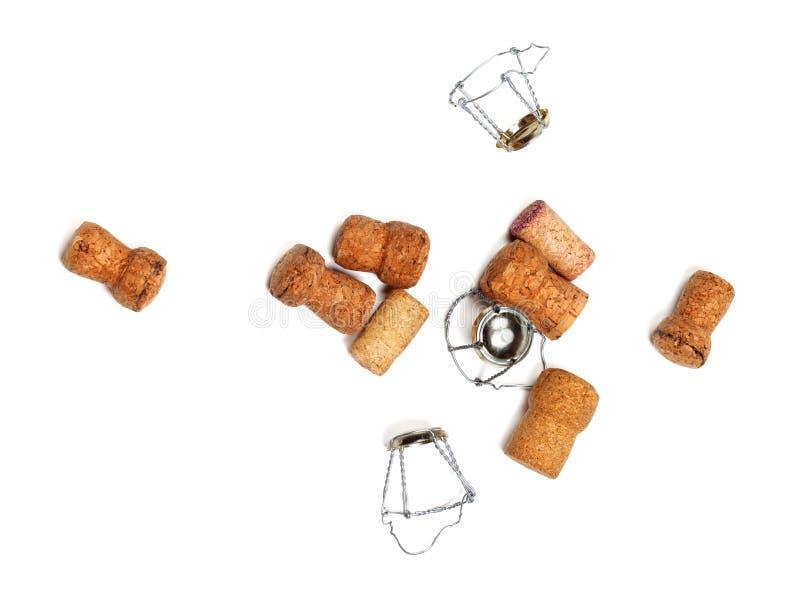 Kurkt van champagnewijn en muselets stock afbeeldingen