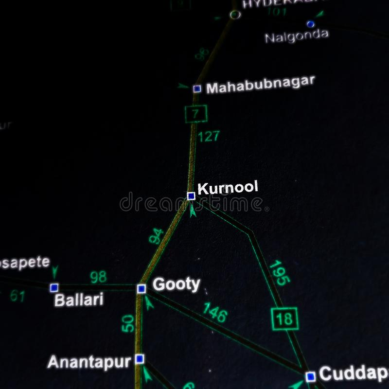 Kurnool area on geographic location in India map royalty free stock photo