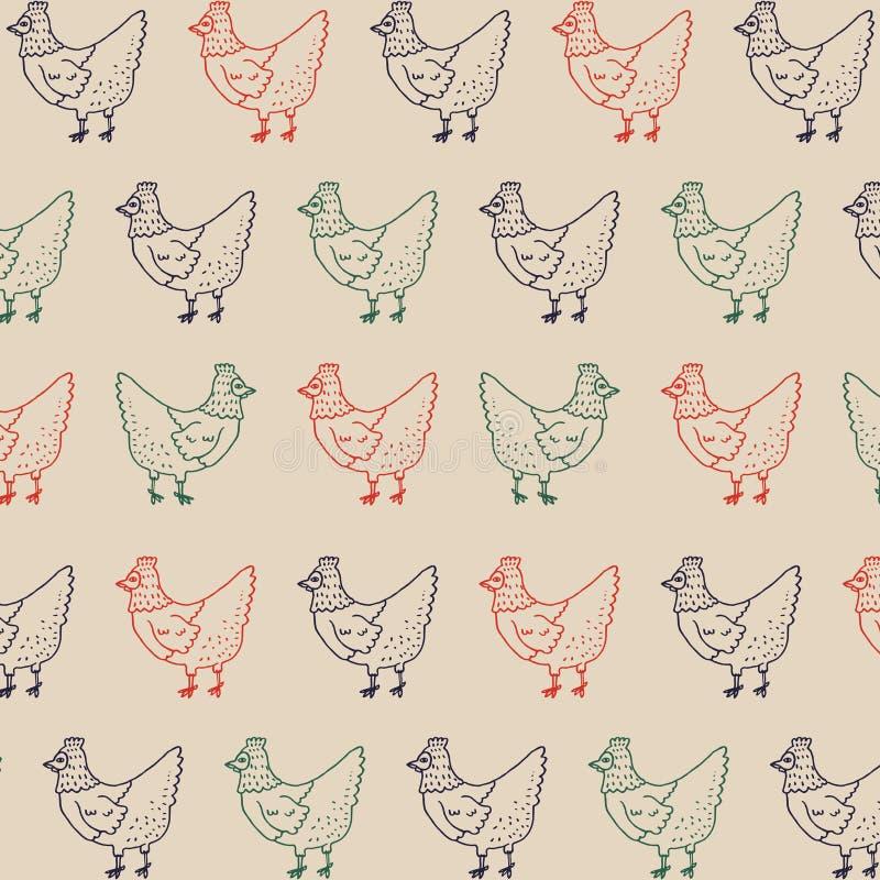 Kurny Retro wzór Rolnego kurczaka Ilustracyjny Wektorowy tło obraz stock