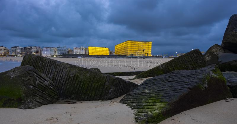 Kursaal auditorium illuminated, place where all kinds of events are held, such as small meetings, congresses, conferences, fairs a stock images