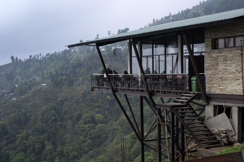 Kurseong, West Bengal, India - April 11 2018: The Margaret Hope tea pub is made on a top of the bamboo pole and is perched on the royalty free stock image