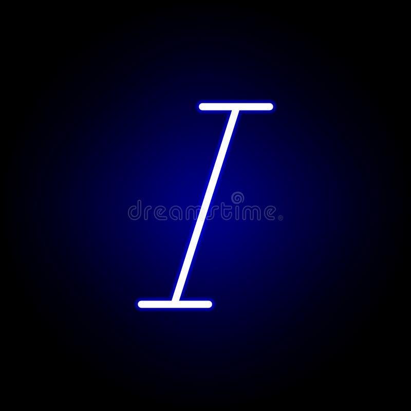 Kursiv symbol i neonstil Kan anv?ndas f?r reng?ringsduken, logoen, den mobila appen, UI, UX stock illustrationer