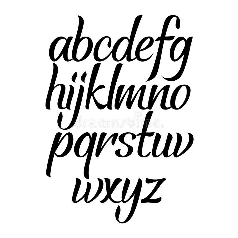Kursiv typ för borsteskriftkalligrafi Handskriven vektoraphabet Dragen hand märka stilsorten royaltyfri illustrationer