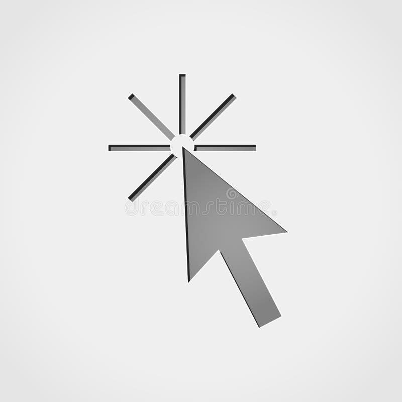 Kursor popielata ikona ilustracja wektor