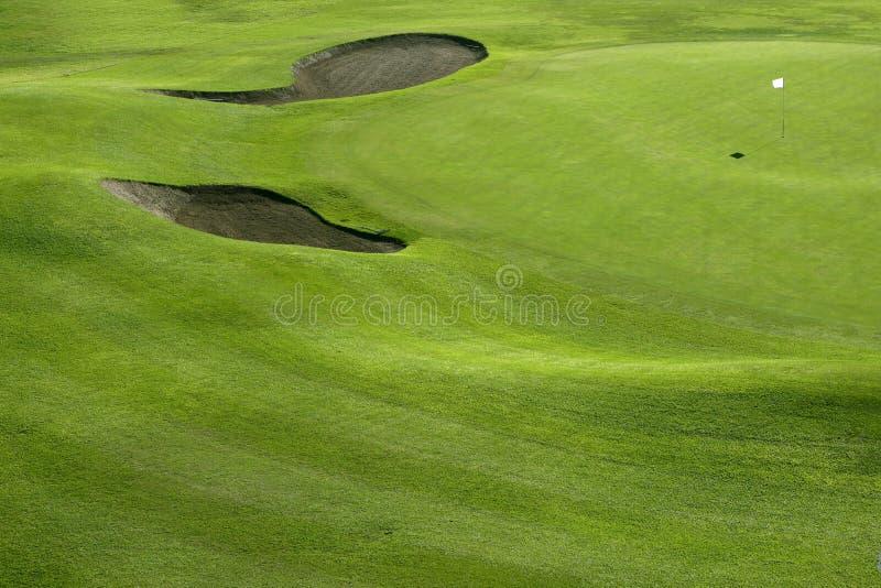 kursowe pola golfa trawy zielonego wzgórza dziury obraz stock